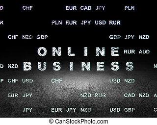 Business concept: Online Business in grunge dark room