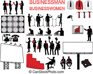 Business concept - people and icons