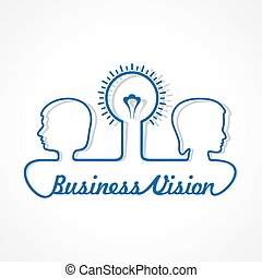 Business concept - people with bulb