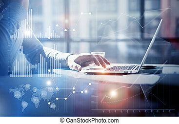 Business concept photo. Businessman working investment project modern office. Touching pad contemporary laptop. Worldwide connection technology, stock exchanges graphics interface. Horizontal