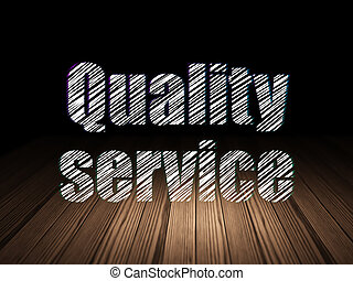 Business concept: Quality Service in grunge dark room