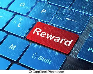 Business concept: Reward on computer keyboard background