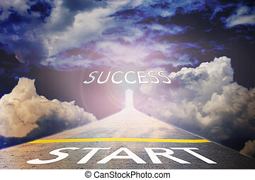Business concept road to success on sky light