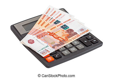 Business concept. Russian ruble banknotes with calculator on a white background