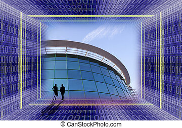 Business concept scene with office building and people...