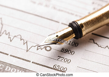 business concept - selective focus on nearest writing part ...