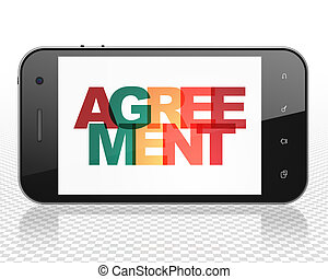 Business concept: Smartphone with Agreement on display