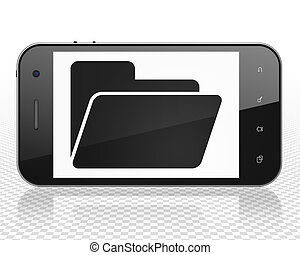 Business concept: Smartphone with Folder on display
