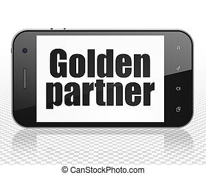 Business concept: Smartphone with Golden Partner on display