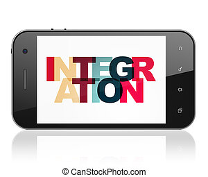 Business concept: Smartphone with Integration on display