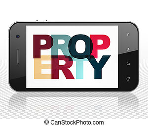 Business concept: Smartphone with Property on display