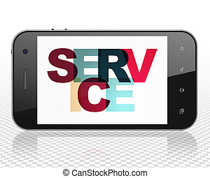 Business concept: Smartphone with Service on display
