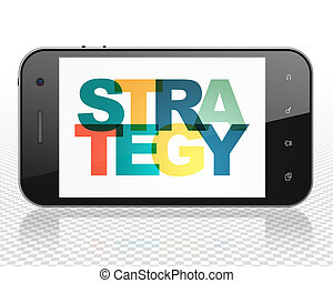 Business concept: Smartphone with Strategy on display