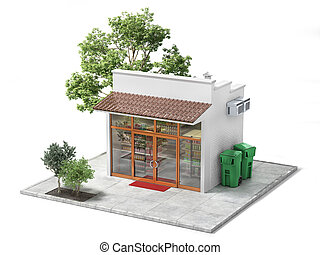 Business concept. Store with empty signboard isolated on a white. 3d illustration