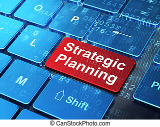 Business concept: Strategic Planning on computer keyboard background