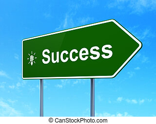 Business concept: Success and Energy Saving Lamp on road sign background