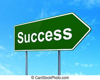Business concept: Success on road sign background