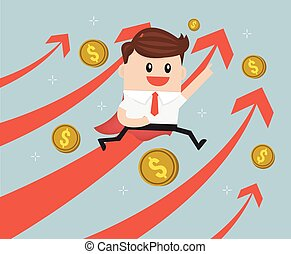 business concept, super businessman with growing graph