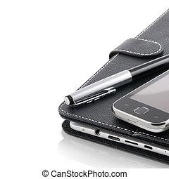 business, concept., téléphone portable, pc tablette, et, stylo
