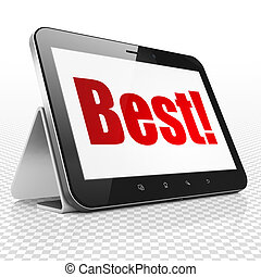 Business concept: Tablet Computer with Best! on display