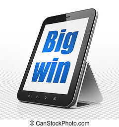 Business concept: Tablet Computer with Big Win on display