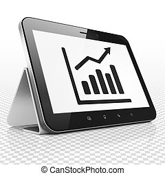 Business concept: Tablet Computer with Growth Graph on display