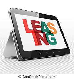 Business concept: Tablet Computer with Leasing on display