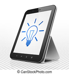 Business concept: Tablet Computer with Light Bulb on display