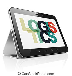 Business concept: Tablet Computer with Logistics on display