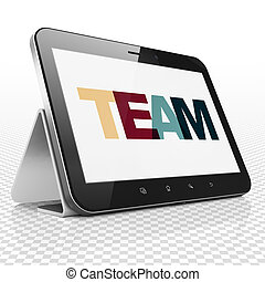 Business concept: Tablet Computer with Team on display
