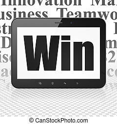 Business concept: Tablet Computer with Win on display