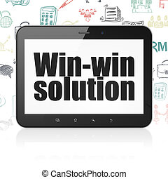 Business concept: Tablet Computer with Win-win Solution on display