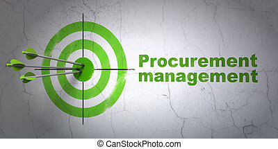 Business concept: target and Procurement Management on wall...