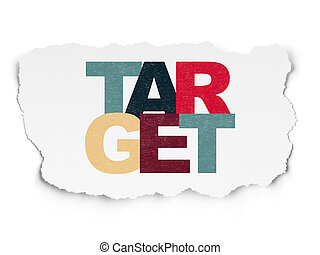Business concept: Target on Torn Paper background