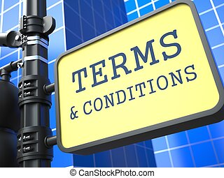 Business Concept. Terms and Conditions Waymark on Blue Background.