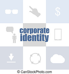 business concept. text corporate identity . Infographic of technology or education process