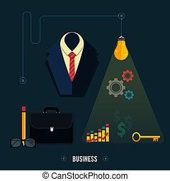 Business concept. Tools, interier, online, documents - Icons...