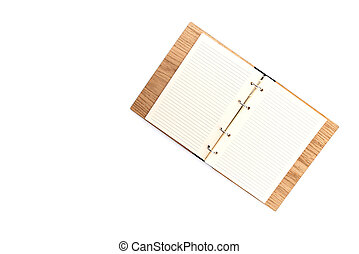 Business concept - Top view of wooden notebook with white open page isolated on background