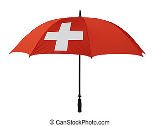 Business concept: umbrella of Flag from Switzerland