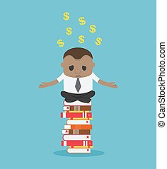 Business concept vector illustration of businessman doing yoga on books pile with a troubled expression with dollar coin