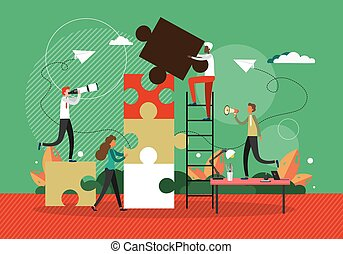 Business concept vector illustration. People connecting puzzle elements. Symbol of teamwork and cooperation. Business partnershi, work as a team