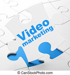 Business concept: Video Marketing on puzzle background -...
