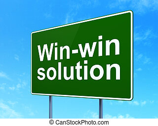 Business concept: Win-win Solution on road sign background