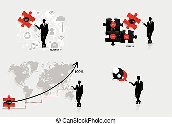 Business concept with businessman, graph , puzzle and cloud of application. Vector illustration.