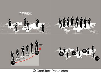 Business concept with businessman. Vector illustration.
