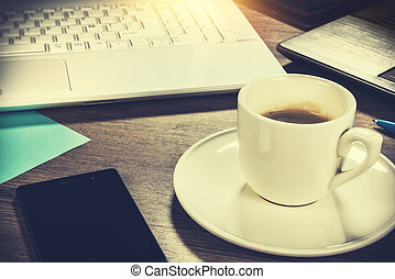 Business concept with coffee cup. Online business, banking, consulting, management
