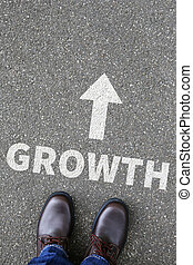 Business concept with growth growing success successful