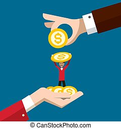 Business Concept with Man Holding Dollar Coin and Big Hands Vector Illustration. Money Savings or Investment Design. Cash Payment Symbol.