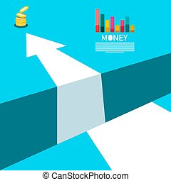 Business Concept with Money Coins, Graph and Big Arrow Over Abyss