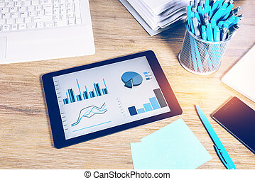Business concept with office desk top closeup. Online business, banking, consulting